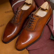 Handmade Men's Dress/Formal Lace Up Oxford Leather Shoes image 3