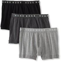 NEW MEN HUGO BOSS 3 PACK PREMIUM COTTON BOXERS SHORTS TRUNKS GRAY BLACK 50236732