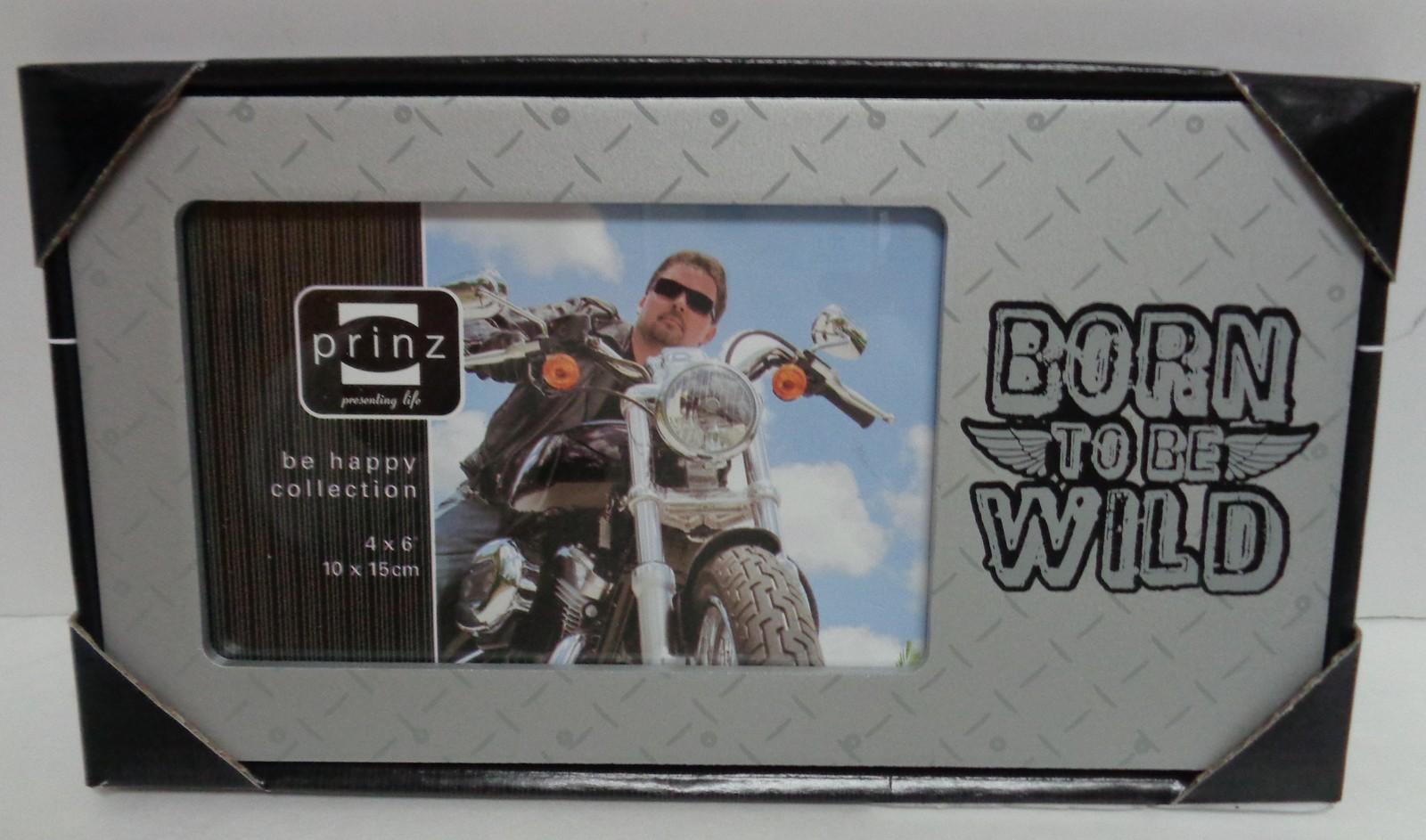 "Wood Photo Frame BORN TO BE WILD NWT 4"" x 6"" NIB Silver"