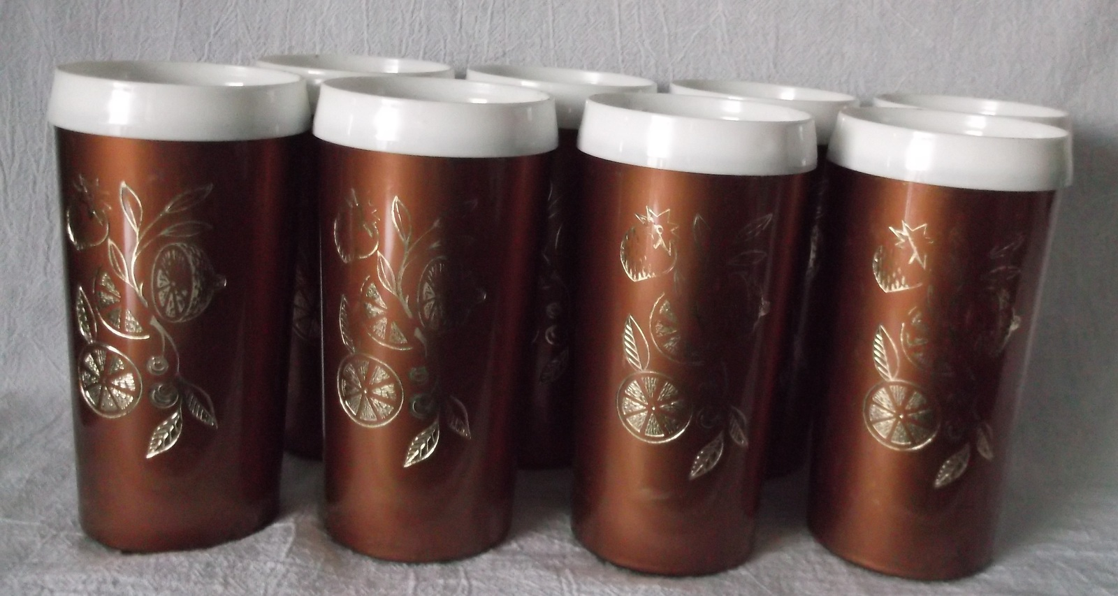 Vintage insulated tumblers set copper white gold fruit usa for Copper to plastic