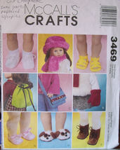 "Pattern (Used) 3469 Doll Shoes, Bags, Mittens, Hat, Scarf 18"" doll such as AG - $5.00"