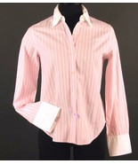 RALPH LAUREN Size Petite S Pink Striped Contrast Collar Shirt Blouse - $9.99