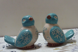 Vintage Turquoise & White Floral Love Bird Novelty Salt & Pepper Shakers - $12.00