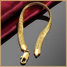 Extra Wide Unisex 18k Gold Filled Herringbone 8inch Link Gold Wrist Bracelet