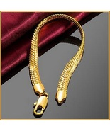 Extra Wide Unisex 18k Gold Filled Herringbone 8inch Link Gold Wrist Brac... - $89.95