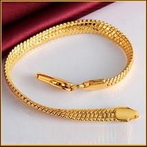 Extra Wide Unisex 18k Gold Filled Herringbone 8inch Link Gold Wrist Bracelet image 2