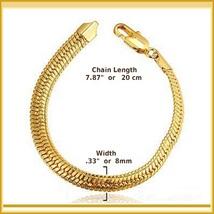 Extra Wide Unisex 18k Gold Filled Herringbone 8inch Link Gold Wrist Bracelet image 3
