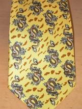 Giorgio Armani Cravatte Men's Necktie Yellow w brown Dragon Tie Silk - $12.99