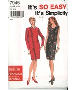 Simplicity 7945 Easy sew sz 8 10 12 14 16 18 misses petite dress UNCUT - $2.00