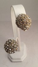 Vintage Coro Clear Pave Rhinestone Clip Earrings Goldtone - $18.33