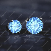Solitre Blue Topaz Fashion Stad Earring 14k Black GP 925 Stering Silver ... - $39.99