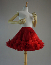 Women Knee Length Tutu Tulle Skirt Full Mini Dance Skirt,Red,High waist,US0-US28