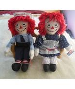 vintage Dakin Raggedy Ann & Andy Stuffed Dolls, 80th & 85th Anniversary - $148.50