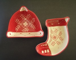 Set of 2 Ceramic Holiday/Christmas Candy/Cookie Dishes: Stocking and Hat - $11.99