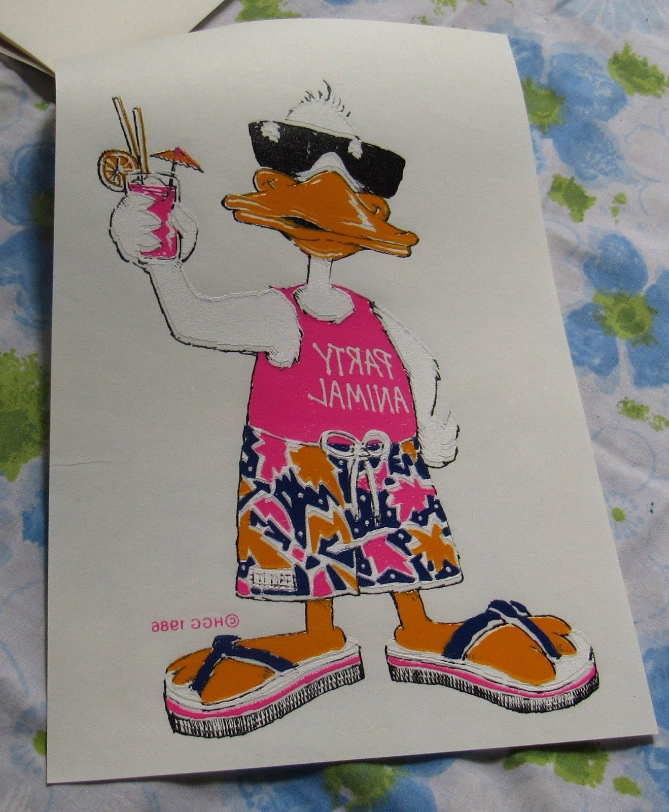 VTG 1986 HGG Party Animal Duck in Shorts T-shirt Iron On Heat Transfer 80s