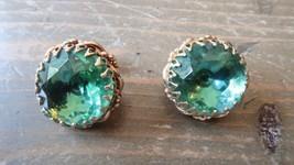 Vintage Gold Tone Green Rhinestone Clip Earrings - $19.79