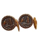 Pair Vintage Brass Ship Lighthouse Ocean Cufflinks #19 - $12.50