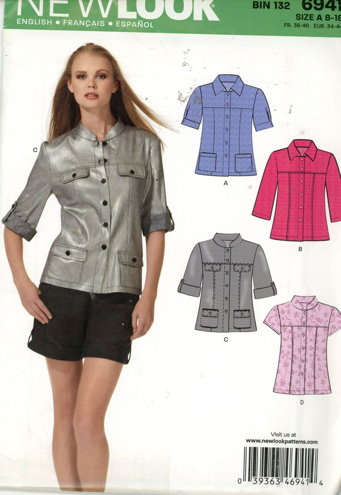 New Look 6941 funky jacket or shirt, 4 styles Sz 8-18 UNCUT