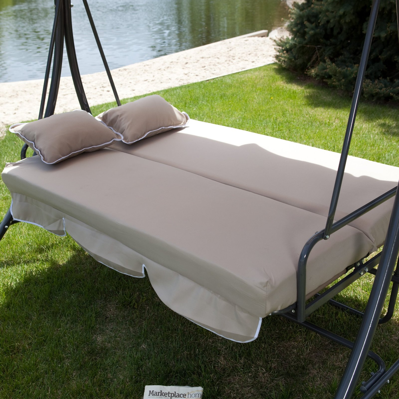 3 Person Swing Bed Chair With Canopy All Weather Adjustable Outdoor Furniture Swings