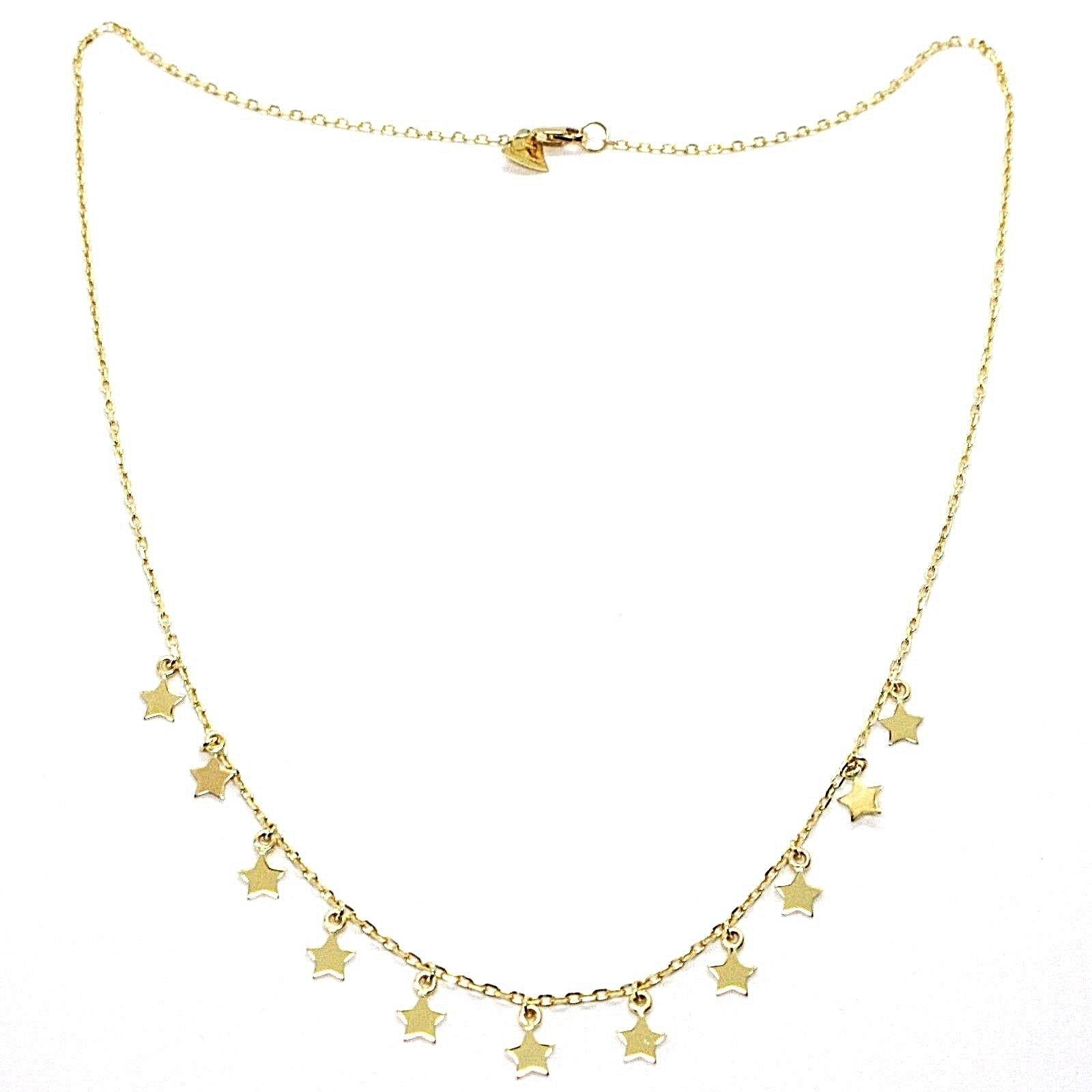 18K YELLOW GOLD NECKLACE WITH PENDANT FLAT STARS STAR, 16.5 INCHES MADE IN ITALY