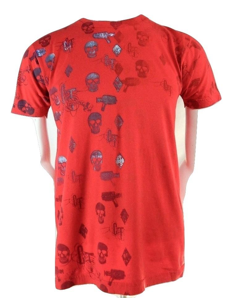American Apparel Red Skulls Casual Thinking 100% Cotton Short Sleeve T Shirt M - $19.95