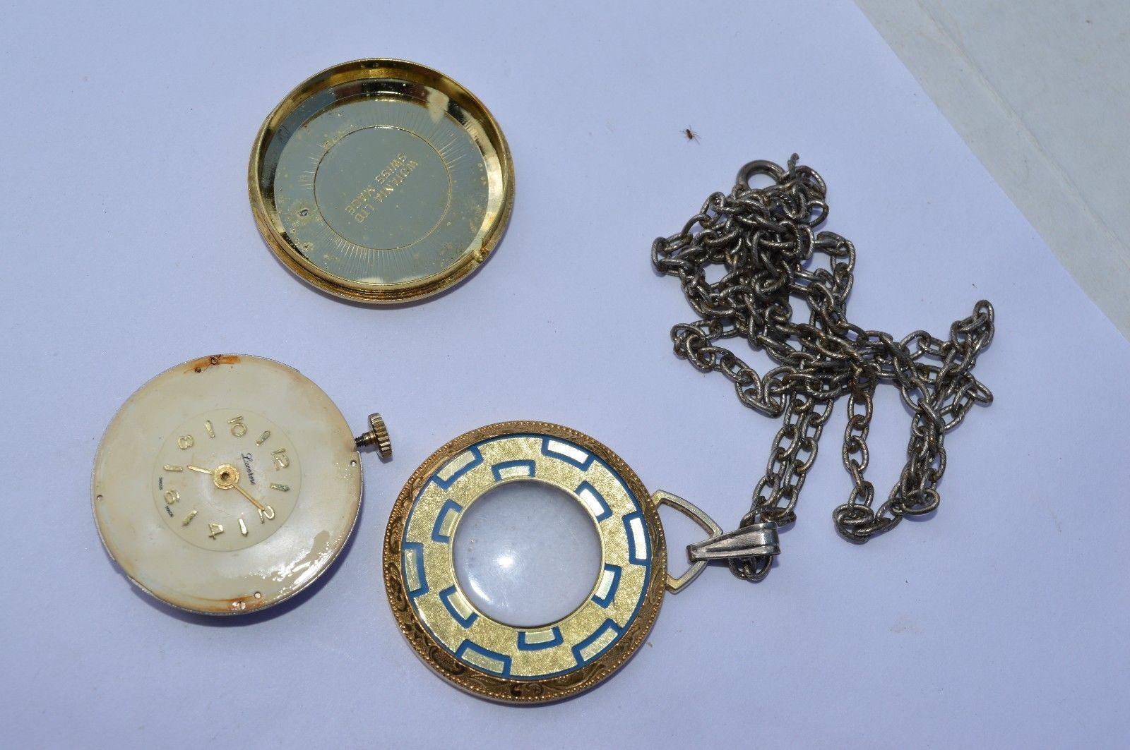Vintage  LUCERNE  Swiss Pendant watch, Pretty watch, runs but wont set time