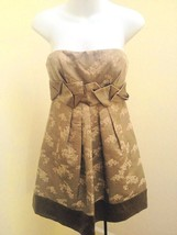BCBG Max Azria 2 Dress Taupe Strapless Woven Floral Empire Waist Pleated Holiday - $36.24