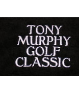 """PERSONALIZED GOLF TOWEL TOWELS LARGE 16"""" x 24"""" BLACK VELOUR 4 Words Embr... - $14.99"""