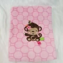 Taggies Pink Monkey Girl Velour Baby Blanket Circles Dots Girl Security B350 - $24.99