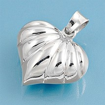 Sterling Silver Puffy Shell Heart pendant New Love Anniversary gift women d163 - $12.49