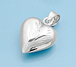 Sterling Silver Puffy Heart pendant New Love Anniversary ladies gift women d166 - $10.59