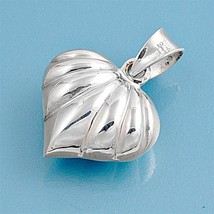 Sterling Silver Shell Heart Puffy pendant New Love gift Anniversary ladies d162 - $10.59