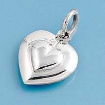 Sterling Silver Puffy Heart pendant New Love gift Anniversary ladies women d150 - $8.69