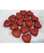 "Valentines Day Red Glitter Hearts 1.5"" Ornaments Decorations Decor Set o... - $15.19"