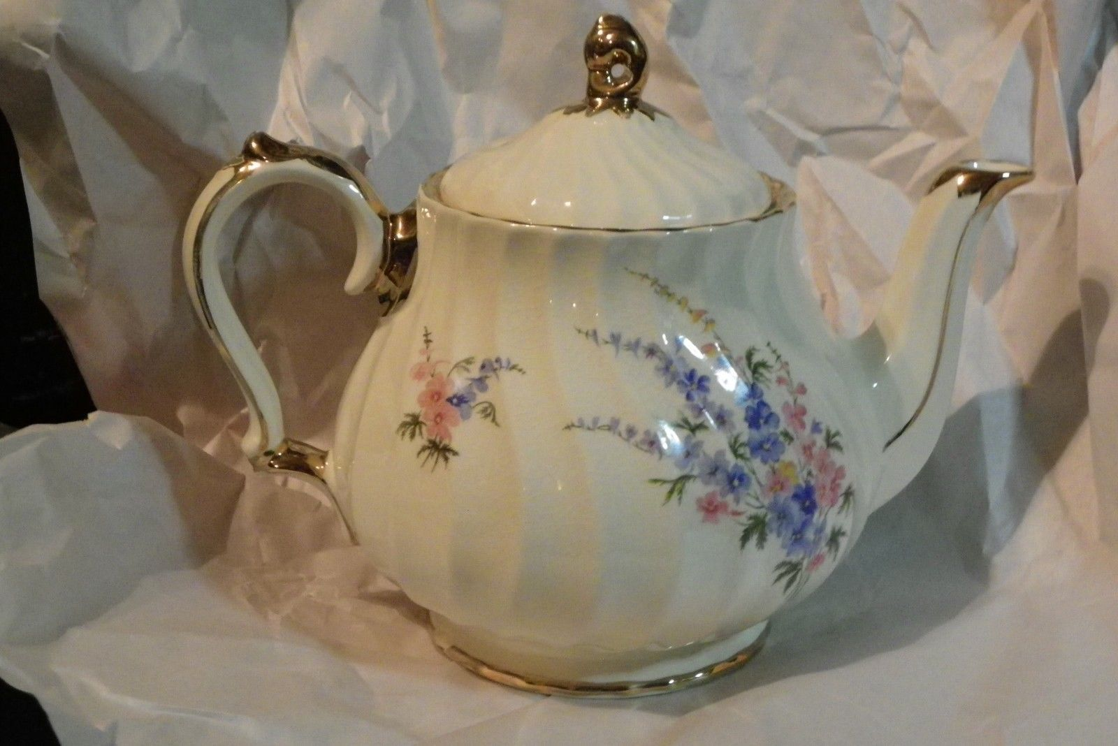 Vintage Sadler England Teapot Floral Flowers with Gold  Numbered 2748