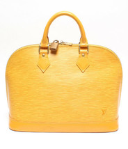 Auth Louis Vuitton EPI Hand Bag Yellow Alma Logo Zipper Leather PVC LVB0569 - $609.84
