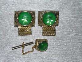 Vintage Swank Goldtone w Green Linde Star Cab Demi Tie Tac & Cuff Links ... - $12.19
