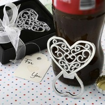 Filigree heart design chrome metal bottle opener from fashioncraft  - $4.99