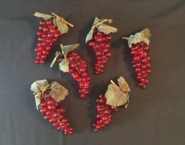 Vintage 60s Clusters of Lucite Red Grapes with leaves/stem/vine