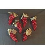 Vintage 60s Clusters of Lucite Red Grapes with leaves/stem/vine - $30.00
