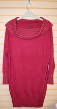 GORGEOUS NEW WOMENS PLUS SIZE 3X RED BURGUNDY STUDDED COWL NECK SWEATER ... - $21.28