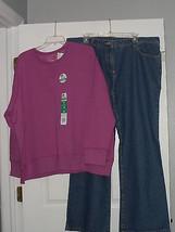 Basics Jeans Size 18 & Hanes Sweatshirt Size 2 X Light Purple  Nwt  - $28.99