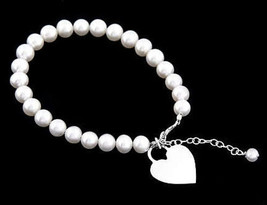 "SILVER FRESHWATER PEARL BRACELET W/ HEART 6"" for CHILD - $32.71"