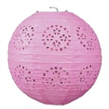 "3 pink paper lace pattern lanterns 8"" diameter wedding party decorations - $13.61"