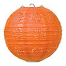"3 orange paper lace pattern lanterns 8"" diameter wedding party decorations - $13.61"