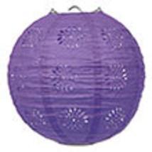 "3 purple paper lace pattern lanterns 8"" diameter wedding party decorations - $13.61"