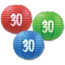 "3 Paper Lanterns 9.5"" Dia 30th Birthday Anniversary Party Decorations - $13.61"