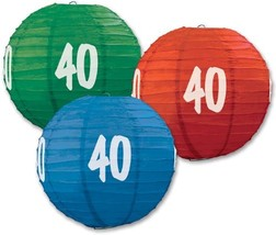 "3 Paper Lanterns 9.5"" Dia 40th Birthday Anniversary Party Decorations - $13.61"