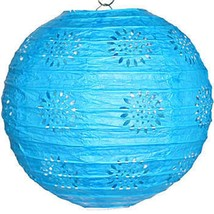 """3 turquoise paper lace pattern lanterns 8"""" diameter wedding party decorations - $13.61"""