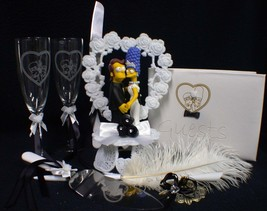 Y Homer Marge Simpsons wedding Cake topper LOT Glasses server set guest book pen - $232.45